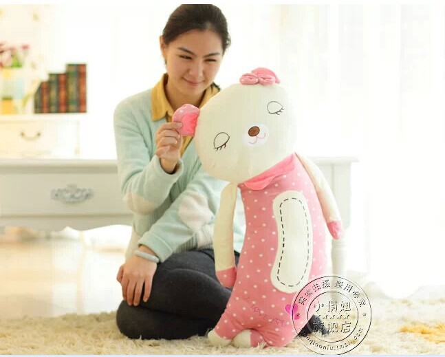 big lovely Teddy sleeping bear toy squinting bear pillow gift doll 70cm pink