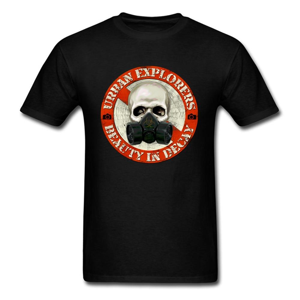 Urban Explorers Mask Skull Punk T-shirt Men Black Tops Short Sleeve Tees Letter Print Family Custom Company