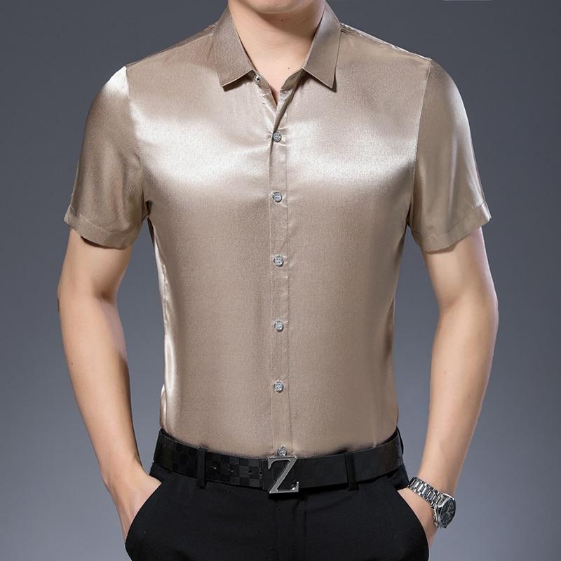 New Arrival Mens Short Sleeve Soft Silk Shirt Casual Pure Color Man Silk Dress Shirt Free Shipping