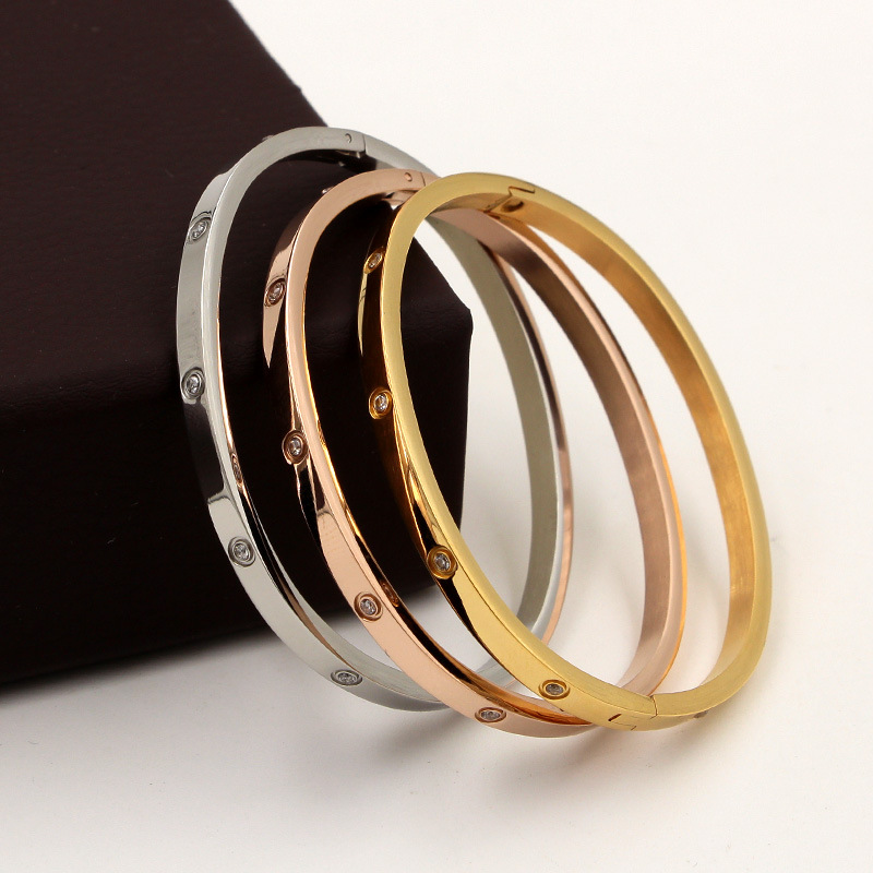 Beautiful Lovers Bracelets Woman Bracelets Stainless Steel Bangles and Bangles Cubic Zirconia Golden Woman Jewelry Gifts
