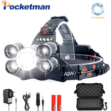 LED headlamp 20000lumens fishing headlight T6 Brightest Head Torch flashlight Head lamp lampe frontale use 18650 by Fishing rechargeable head torch 10000lm 3 cree xml t6 led headlight lamp zoom 4 mode 18650 lampe frontale fishing light head flashlight