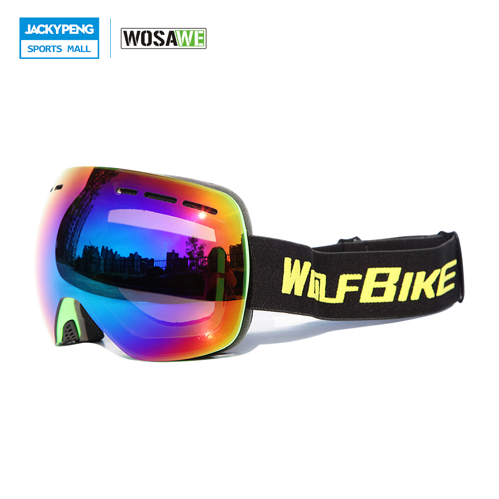WOLFBIKE Skiing Goggles Double Layers Lens Anti-fog Spherical Ski Mask Glasses UV Protection Men Women Snow Snowboard Goggles