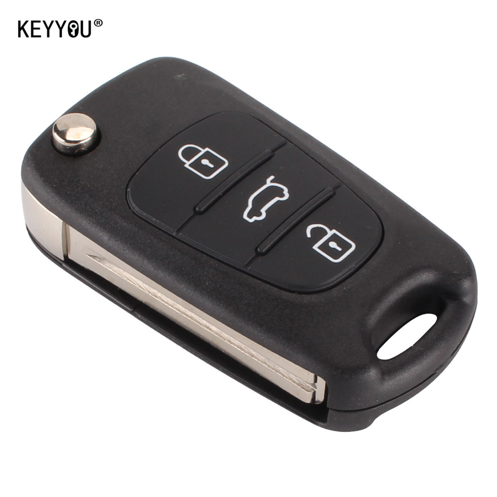 With Kia Logo Car Key Shell Replacement For K2 K5 Flip Folding Remote Keyyou New 3 Buttons Case Blank Cover