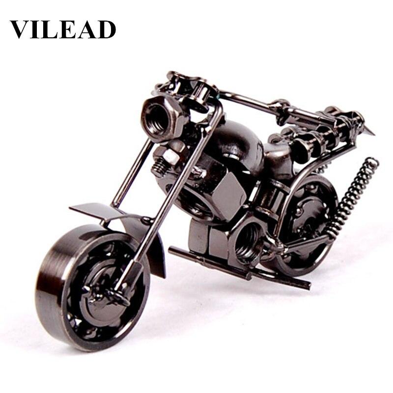 "VILEAD 14cm(5.5"") Motorcycle Model Retro Motor Figurine Metal Decoration Handmade Iron Motorbike Prop Vintage Home Decor Kid Toy(China)"