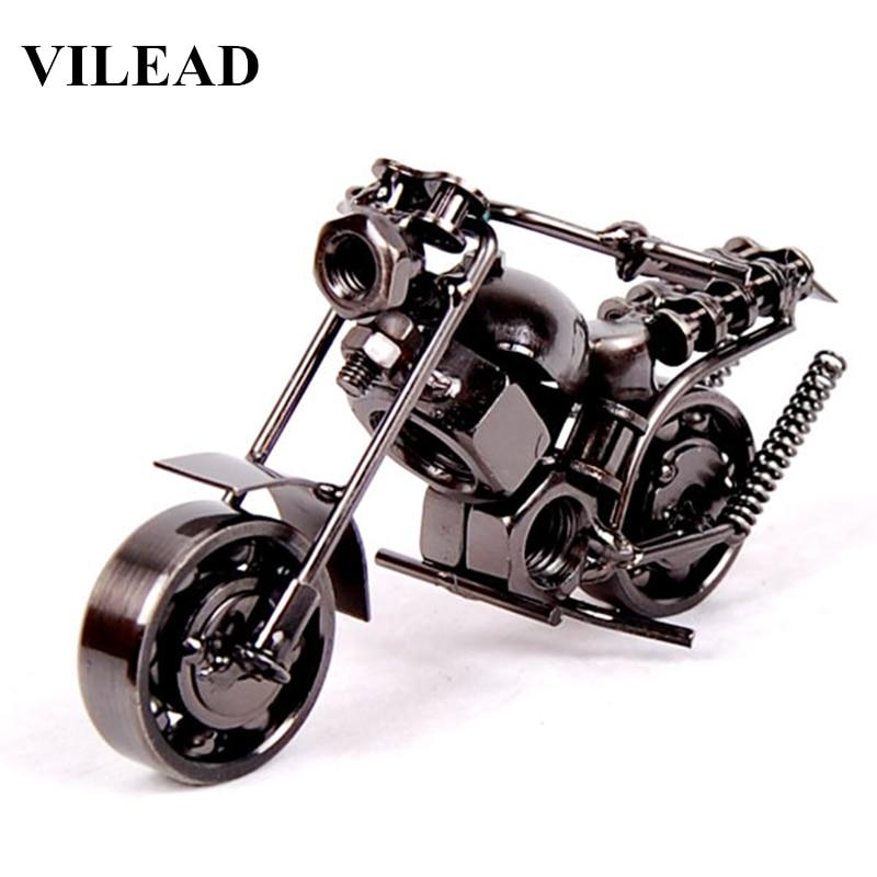 VILEAD 14cm 5 5 Motorcycle Model Retro font b Motor b font Figurine Metal Decoration Handmade