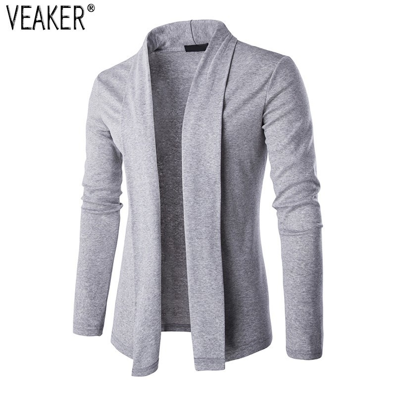 2019 Autumn Men's Sweater Cardigans Male Slim Fit Long Sleeve Knitted Cardigan Black Gray Casual Mens Sweaters Knitwear M-2XL