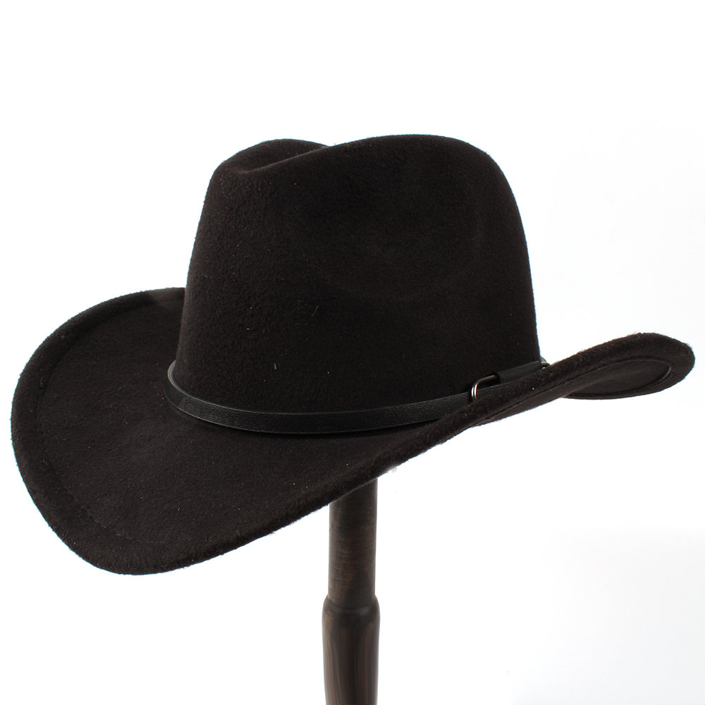 6870d75b Fashion Wool Women's Men's Western Cowboy Hat For Gentleman Lady Winter Jazz  Cowgirl With Leather Cloche