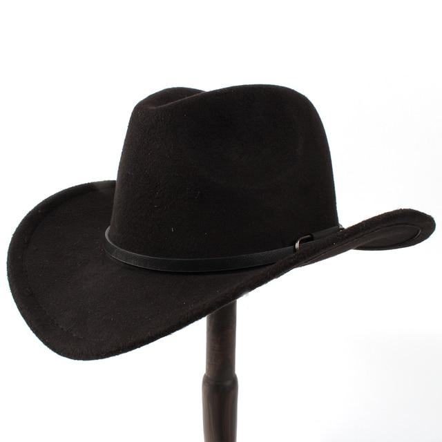 Busana Wol pria Topi Koboi Barat Untuk Pria wanita Lady Musim Dingin Jazz  Sombrero Cowgirl Dengan 68a9a2597b