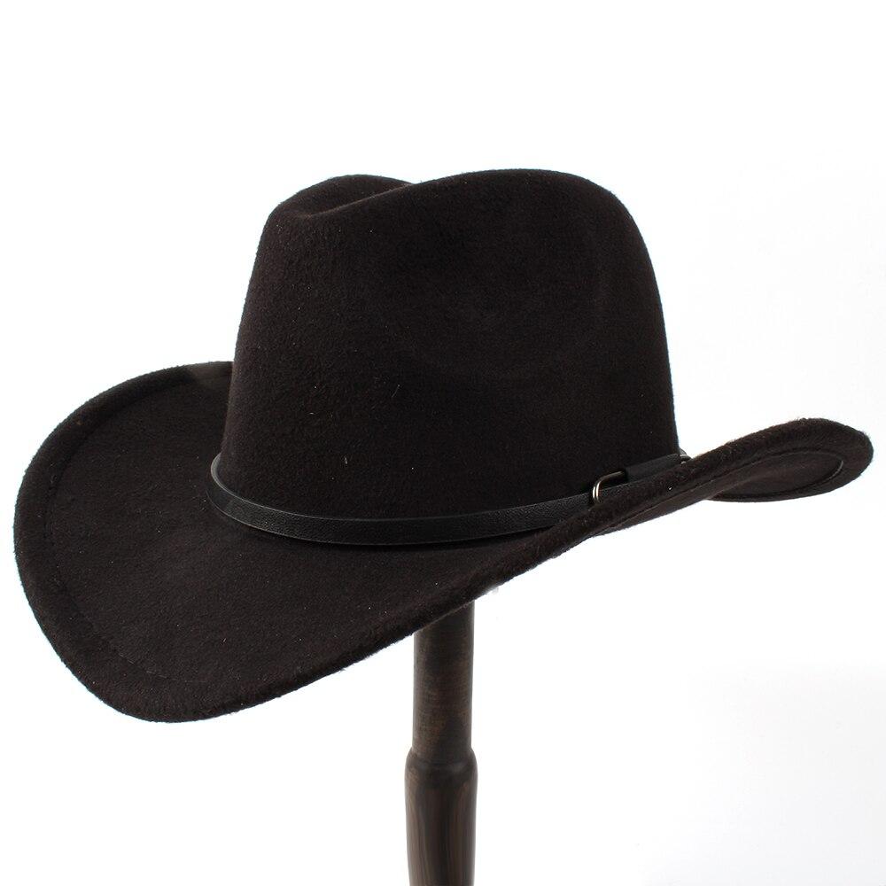 Degli Uomini delle Lane di modo Delle Donne Cappello Da Cowboy Occidentale  Per Le Signore Signora Inverno Jazz Cowgirl Con Cuoio Cloche Chiesa  Sombrero Caps ... 956ea38c48e2