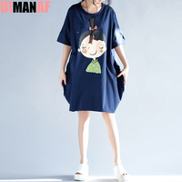 Summer Style Plus Size Women T Shirt Kawaii Gril Print Cotton Dress Casual Female Tops Tees