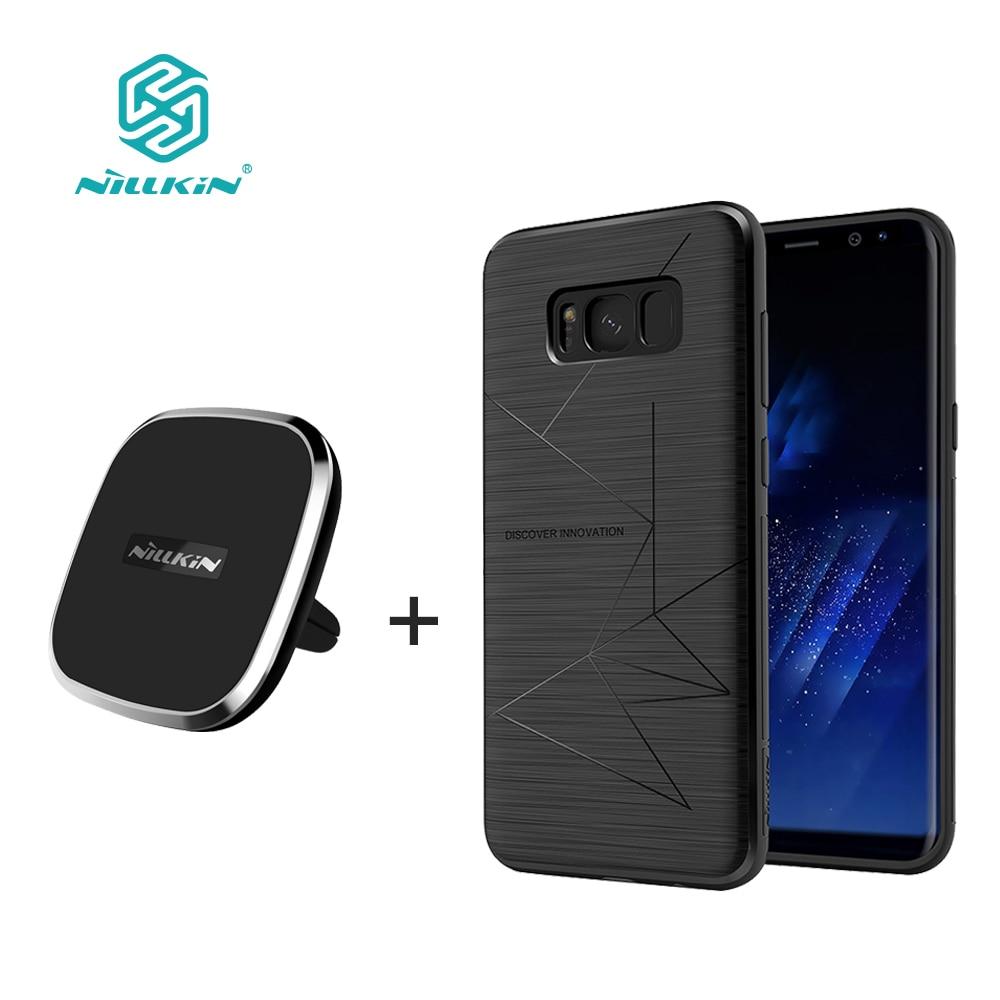 Pour samsung galaxy s8 s8 plus NILLKIN qi chargeur sans fil pad + chargeur sans fil magnétique récepteur couvercle chargeur Portable pad