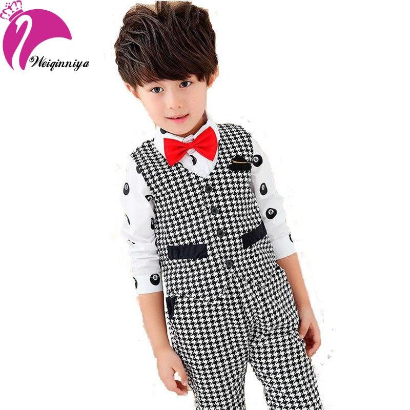 Spring New Brand 2016  Baby Boy Formal Sets Plaid Striped Cotton Vest Blazer Pant Fashion Gentleman 2 Pieces Suits Kids Clothes  new brand 2pcs ofcs baby boy sets cotton spring