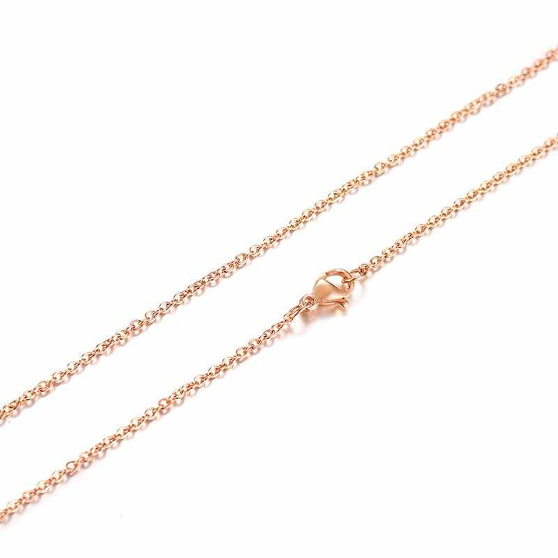Women's Necklaces Cable Link Chain Thin Rose Gold Color Snake Chain Choker Girl Birthday Gift Jewelry