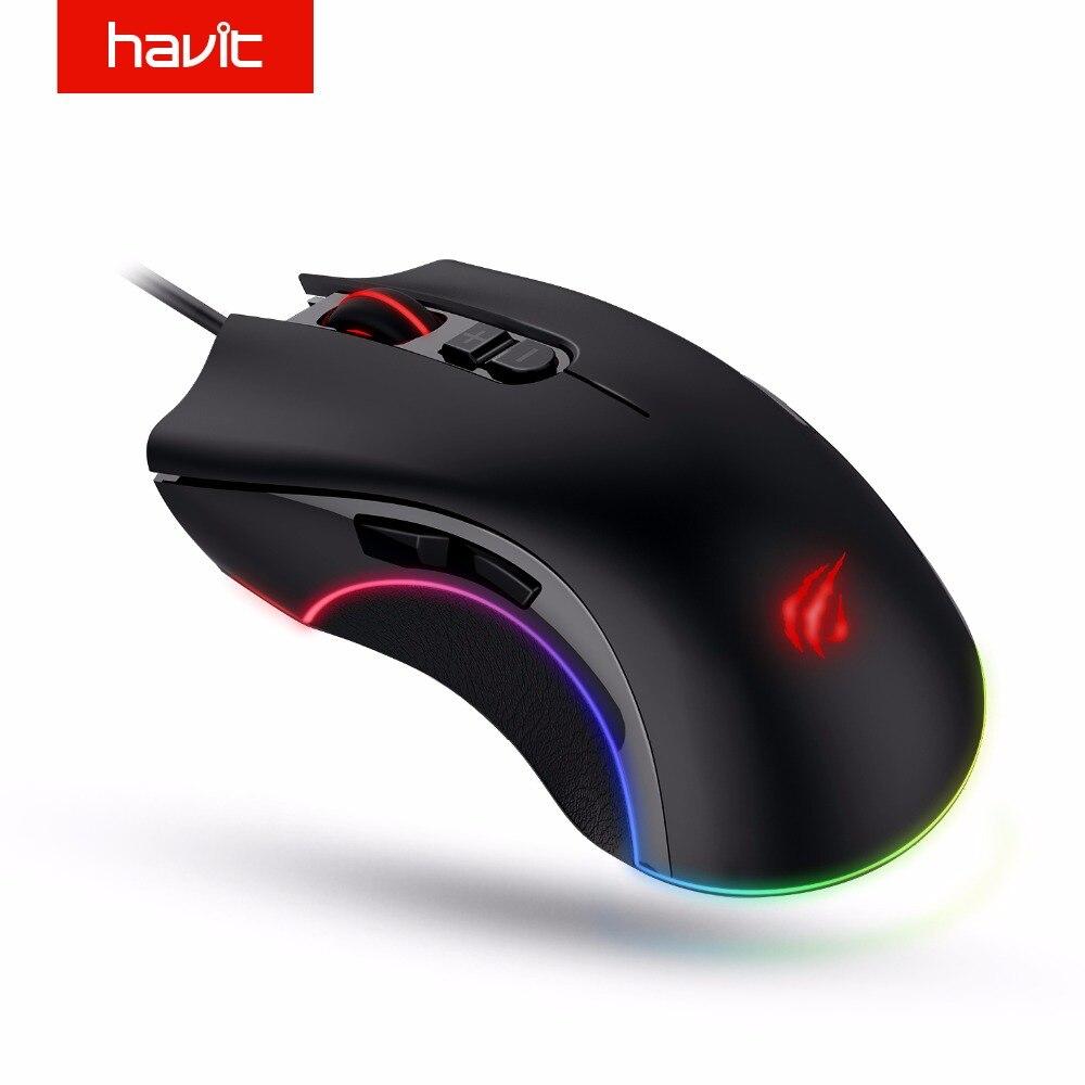 HAVIT программируемый Gaming Мышь 4000 Точек на дюйм 7 Пуговицы RGB подсветкой USB Проводная оптическая Мышь геймер для PC ноутбук HV-MS794