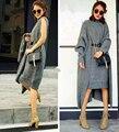 Nueva otoño invierno traje de dos piezas cardigans Gabardina caliente top de Punto dama de La Moda sueltas de las mujeres delgadas suéteres Mujer rompevientos