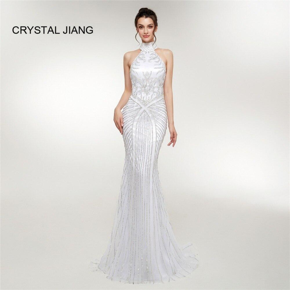 Cristal JIANG 2019 Robe De soirée Sexy col haut cristal perlé personnalisé trou De serrure dos blanc formel luxe Robe De soirée Photo réelle