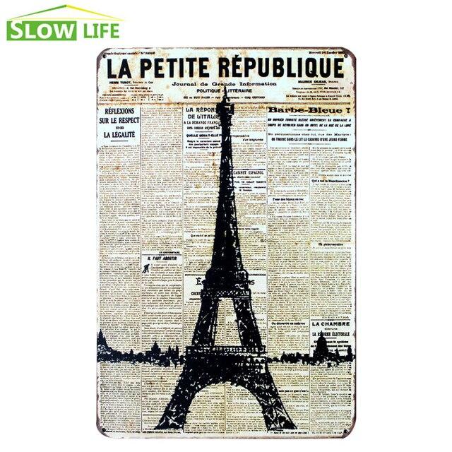 Eiffel Tower On Newspaper Metal Tin Sign Wall Decor Tin Sign Vintage ...