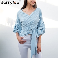 BerryGo Sexy V Neck Pearl Blouse Shirt Women Elegant Crimp Puff Long Sleeve Blouse Bow Wrap