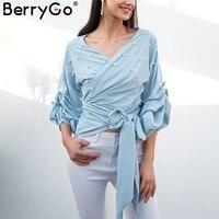 BerryGo Sexy V Neck Pearl Blouse Shirt Women Elegant Crimp Puff Long Sleeve Blouse Bow Wrap