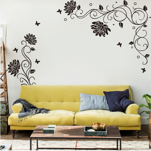 calssic vinyl wall stickers butterfly flower wall decal tv sofa wall