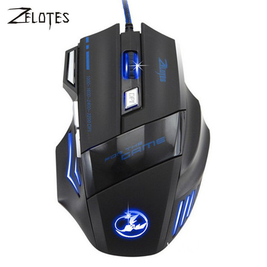 ZELOTES 2017 Professional 5500 DPI 7 Buttons Wired LED light Optical USB Computer Gaming Mouse Mice for Pro Mouse Gamer Black i rocks 7810r usb 2 0 wired 1800dpi optical gaming mouse white silvery grey