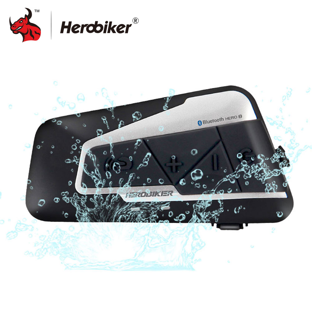 ac76e72b800 HEROBIKER 1200 M intercomunicador de Bluetooth Headset casco de la  motocicleta Interphone impermeable inalámbrica Bluetooth Moto auriculares  Interphone ...
