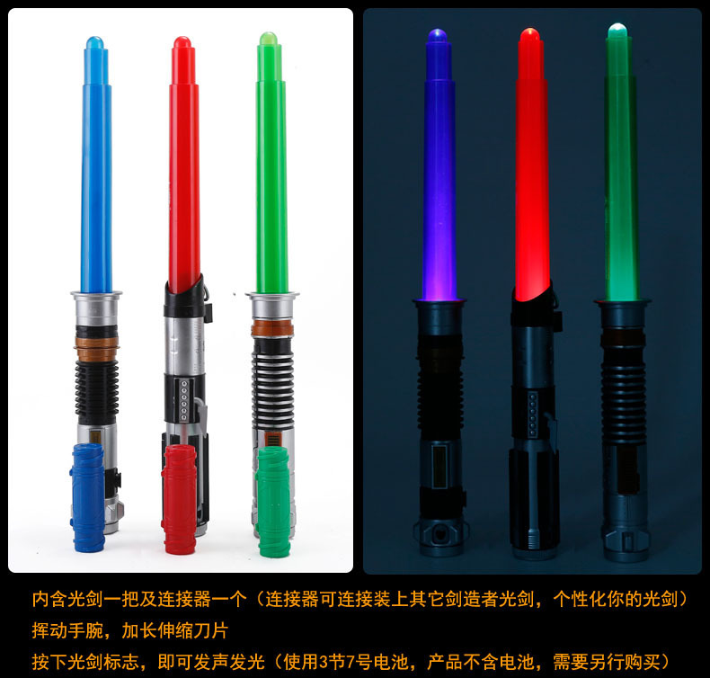 81CM Long Star Wars Lightsaber Weapons Cosplay Sword with Three luminous colors & Sounds PVC Action Figure Toys for kids Gift