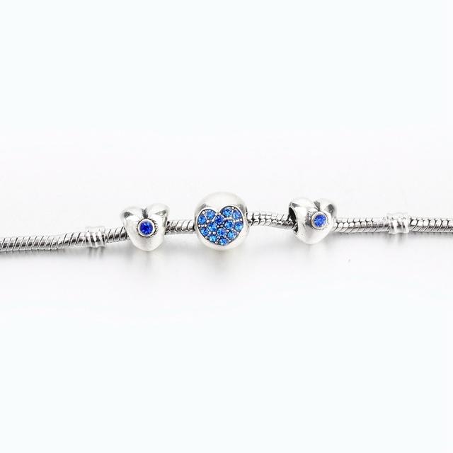 Heart pink zirconia charm bracelet