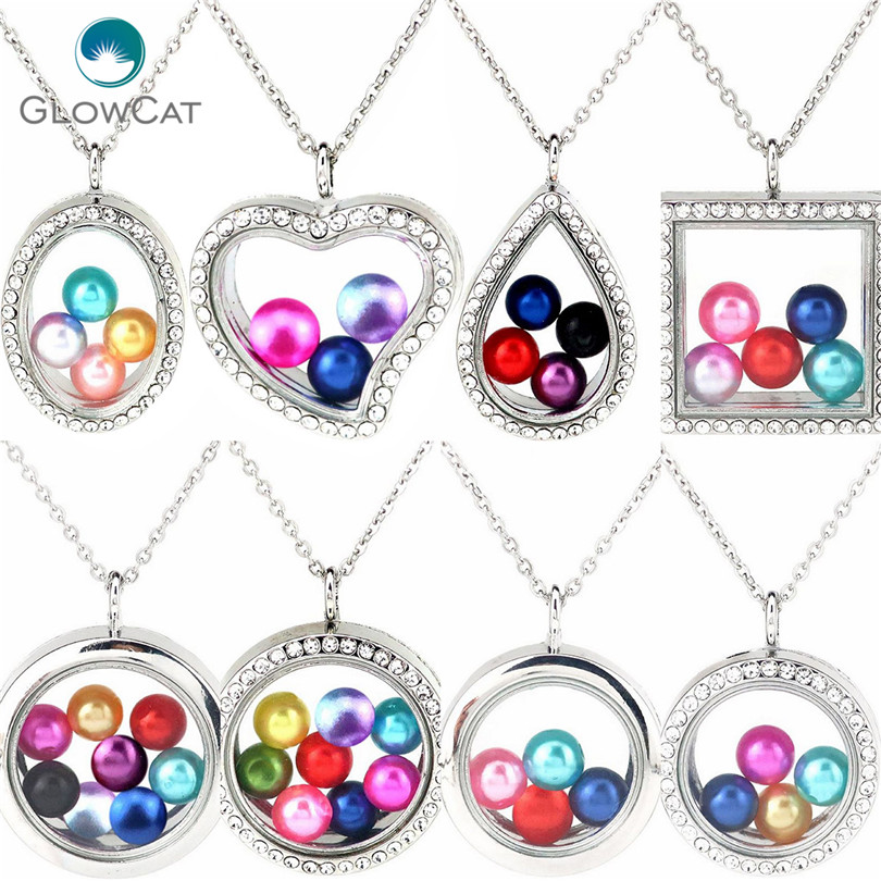 More Style Diameter 8mm 10mm Beads Geometry Locket Pearl Cage Floating Pendant Rhinestone Necklace locket