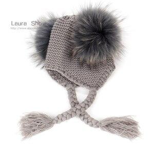 Image 3 - Детская шапка бини с подкладкой, теплая шерстяная шапка с помпонами из натурального меха, 16 см, для осени и зимы