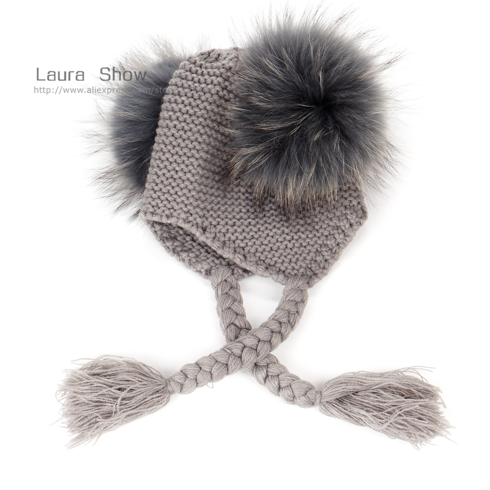 Image 3 - LAURASHOW New Autumn Winter Baby Beanie With Lining 16 CM Real Fur Pompoms Warm Sleep Wool Cap Kids Clothing Accessories Hatreal fur pompomfur pompomwool cap -