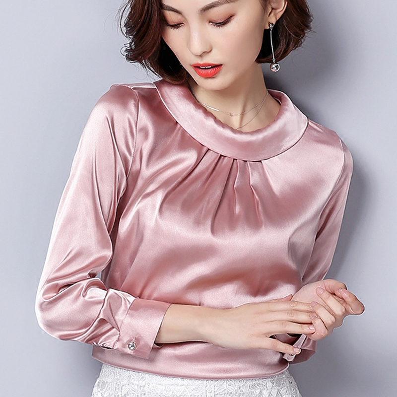 Plus Size M-XXXL Women Blouses Spring Casual Silk Blouse Loose Long Sleeve OL Work Wear Blusas Feminina Tops Shirts Pink 947F