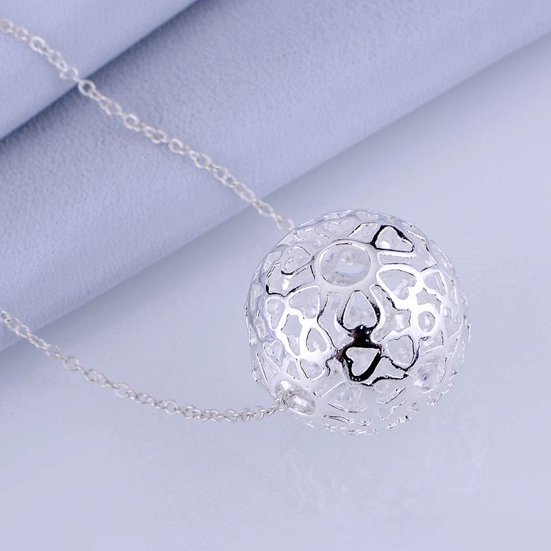 sphere hollow light silver plated Necklace 925 jewelry silver Pandant Fashion Jewelry LQ-P009 EVYUUQUM