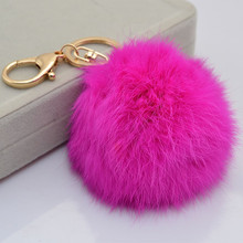 High Quality 10cm Real Leather Rabbit Fur Ball Plush Key Chain Car Keychains Fashion Key Ring Holder Pendant Women Bag Charm