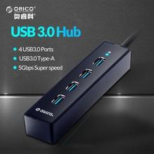 ORICO Super Скорость Портативный 4 Порты USB 3.0 хаб для ноутбука/Ultrabook с Vl812 чипсетов для Тетрадь/Desktop -черный/белый (W8PH4)
