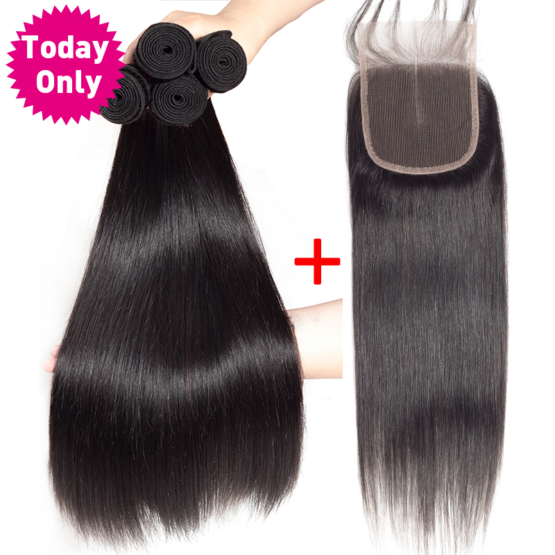 TODAY ONLY Peruvian Straight Hair 3 Bundles With Closure Remy Human Hair Bundles With Closure Peruvian Hair Bundles With Closure