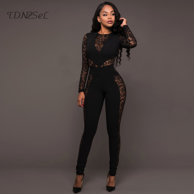 0610aedef527 Sexy Long Sleeve Lace Hollow Out Patchwork Jumpsuit Women Black Red Blue  High Waist Zipper Backless