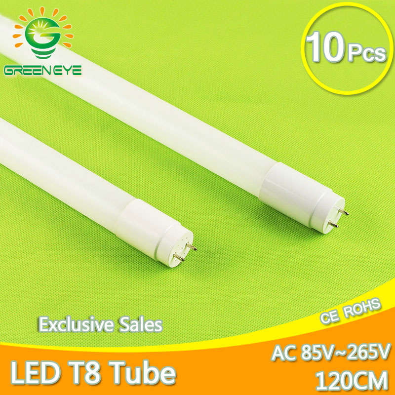 High Bright LED Tube T8 18w 120cm/1200mm AC85-265V 10pcs/lot LED Fluorescent Light Tube LED Lamp milky cover SMD2835 Bulb neon t8 led tube 1200mm light 18w120cm 4ft 1 2m g13 with holder fixture high power smd2835 fluorescent replacement 85 265v