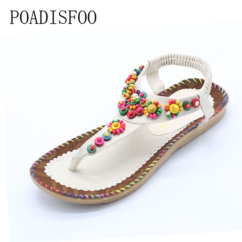 POADISFOO Sandals 2017 Ankle-Strap Shoes Women Flat Sandals Narrow Band Summer Shoes Girl Flip Flops Big Size Bohemia .HYKL-818