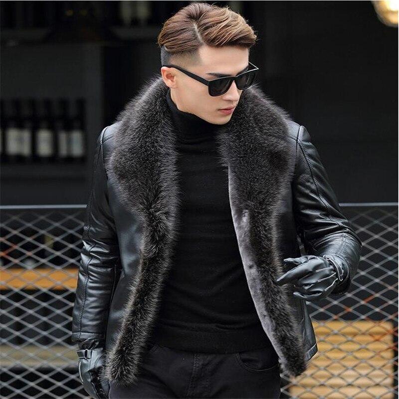 M-5XL 2018 hiver nouveaux hommes en laine d'agneau en cuir veste en cuir véritable manteaux épaissir fourrure animal col jaqueta masculino grande taille