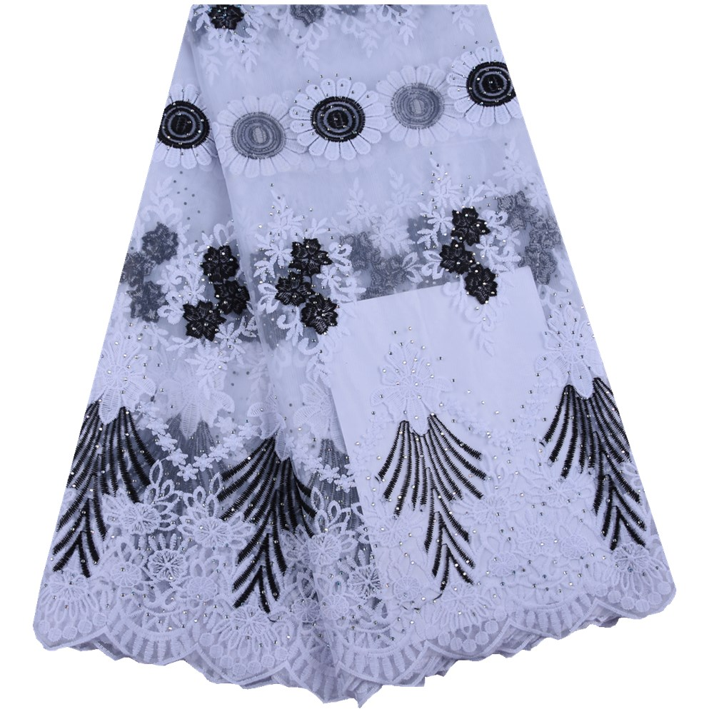African French Tulle Lace Fabric 2019 High Quality Lace Milk Silk Embroidered Lace Nigerian Lace Fabric