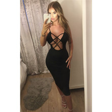 Womens Strappy Plunge Bodycon Dress 2018 New Sexy Club wear Women Hollou  Out Deep V Neck b738e5d70