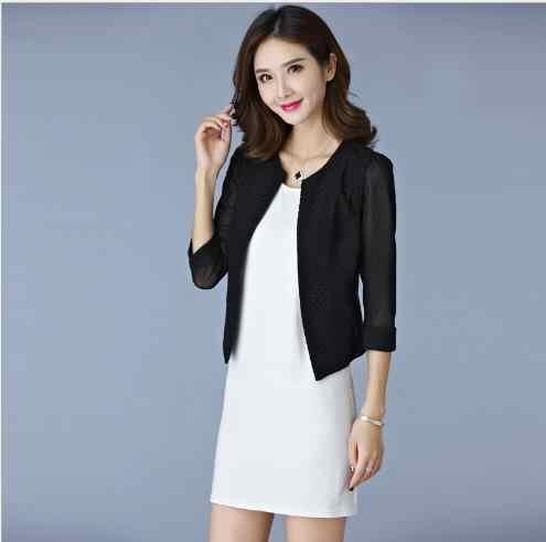 2019 Yaz Iş Kadın Gazlı Bez Örgü Hırka Kısa Ceketler Jaqueta Feminina Bayanlar Siyah/Beyaz Hollow Out Ince Dış Giyim E853