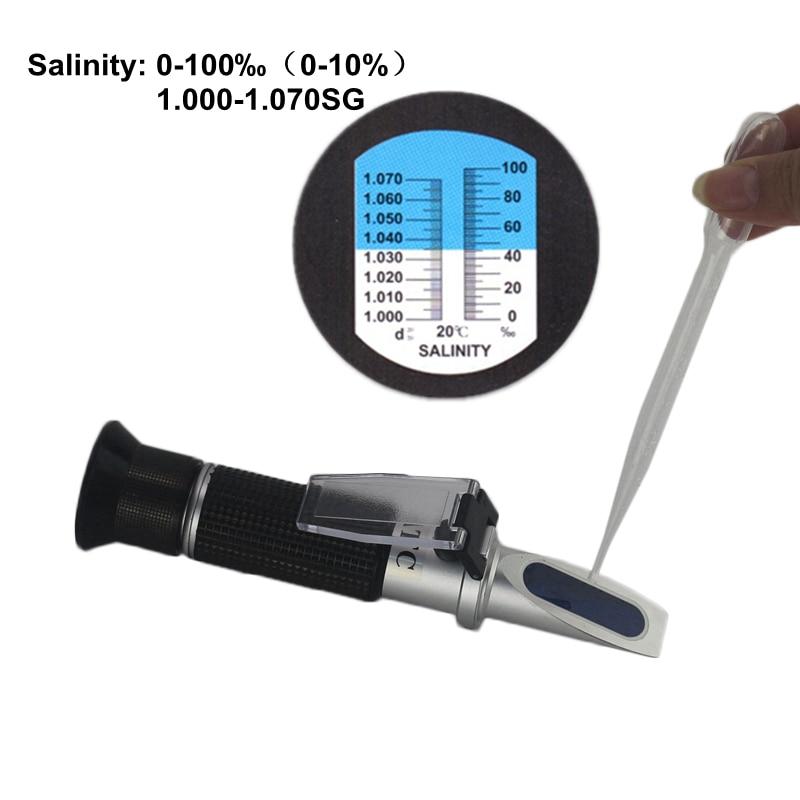 0-10% Aquarium Salinité Réfractomètre Densimètre 1.000-1.040SG Refratometro Sel Mer Compteur D'eau Mornitor Testeur Professionnel