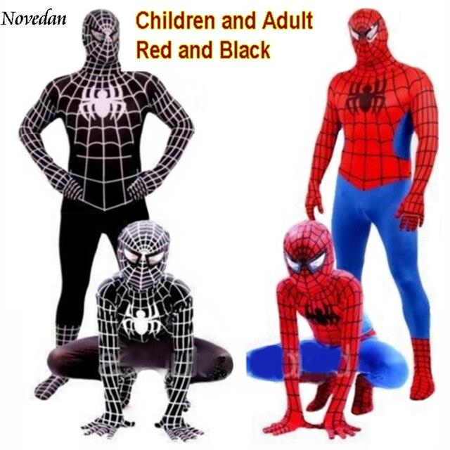 Preto vermelho Do Homem Aranha Homem Aranha Traje Terno homem-Aranha Trajes Adultos Dos Miúdos Das Crianças Spider-Man Cosplay Roupas