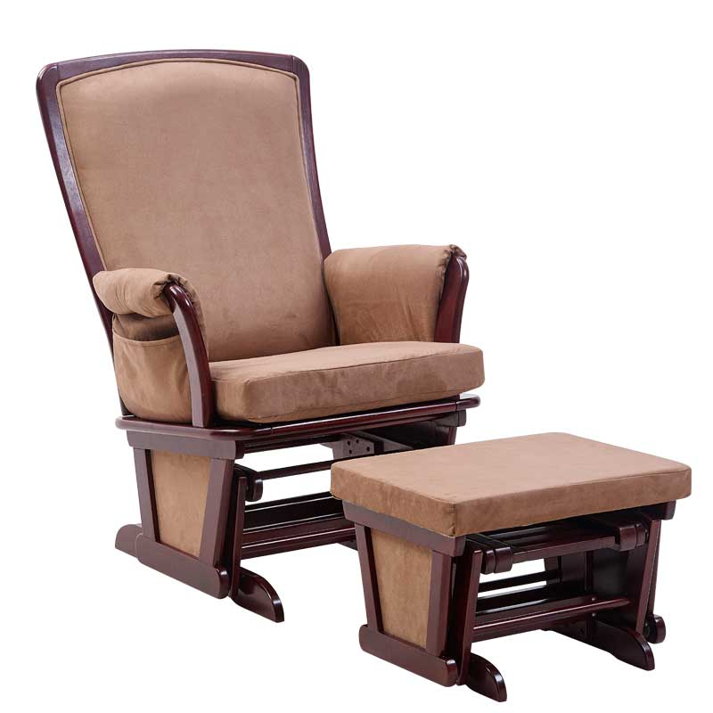Buy wood rocking chair glider and ottoman for Wooden chairs for living room