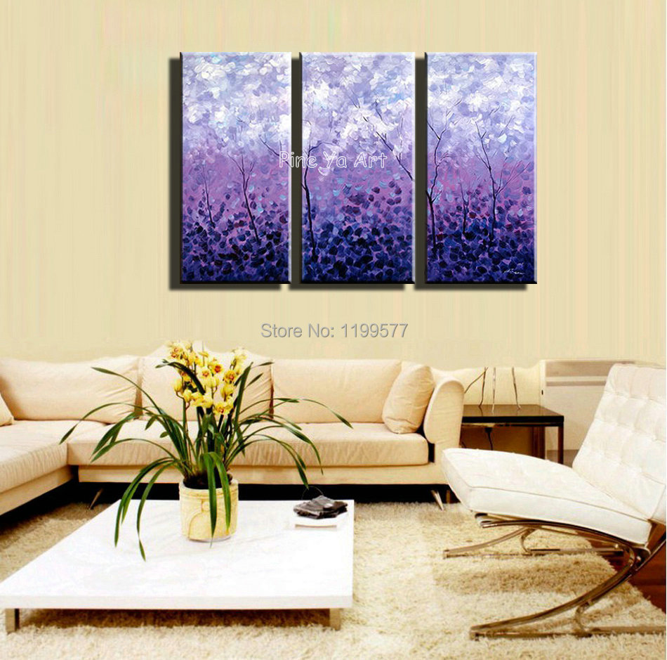 3 piece Acrylic tree purple abstract modern wall art handpainted ...