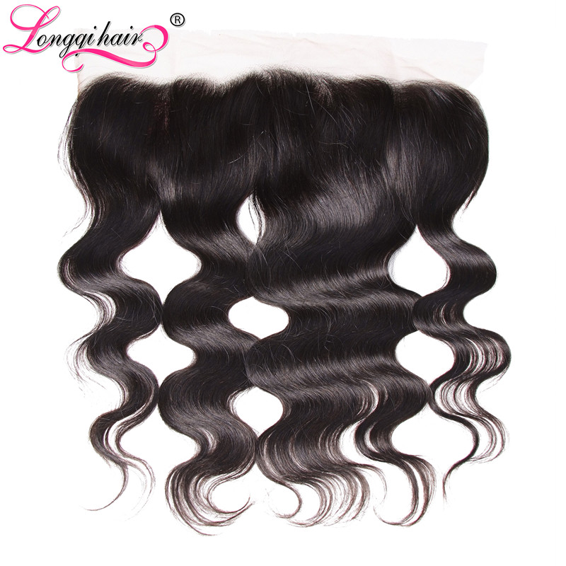 Longqi Hair Remy Peruvian Hair Body Wave Lace Frontal 13x4 Free Part Closure 10 20 Inch