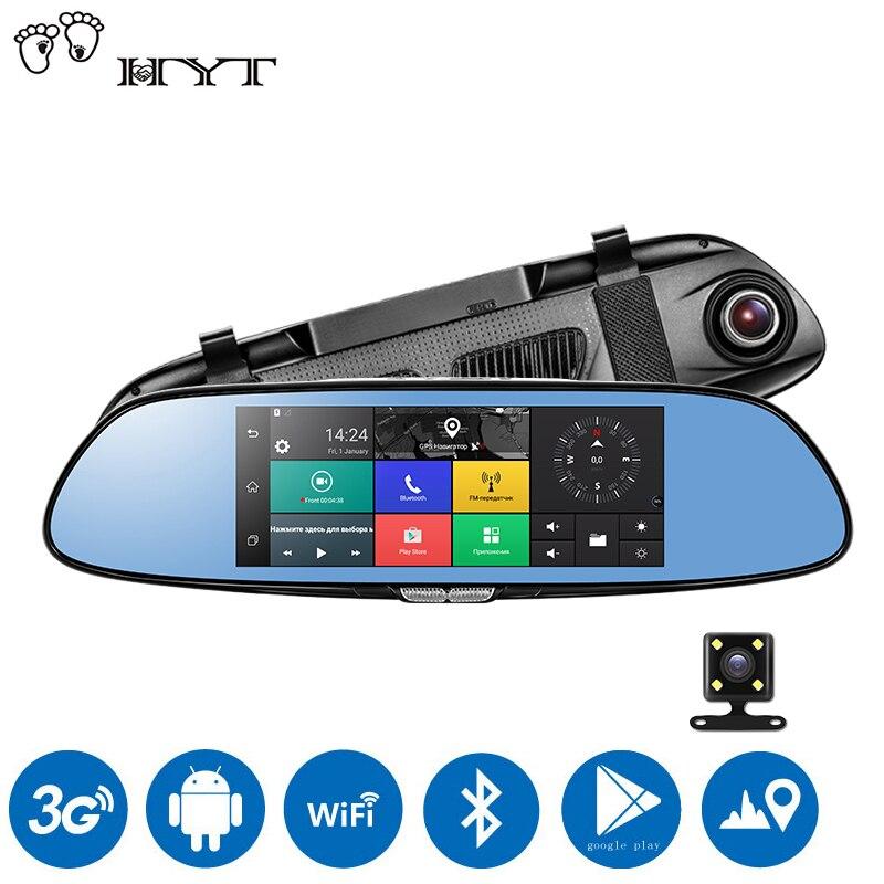 HYT H760 7 3G Rearview Mirror car DVR Camera Dual Lens Android 5.0 1080P Video Recorder GPS Navigation Car detector Dash Cam original anytek a30 dual lens auto dvr camera car video recorder rearview mirror 1080p g sensor dash cam