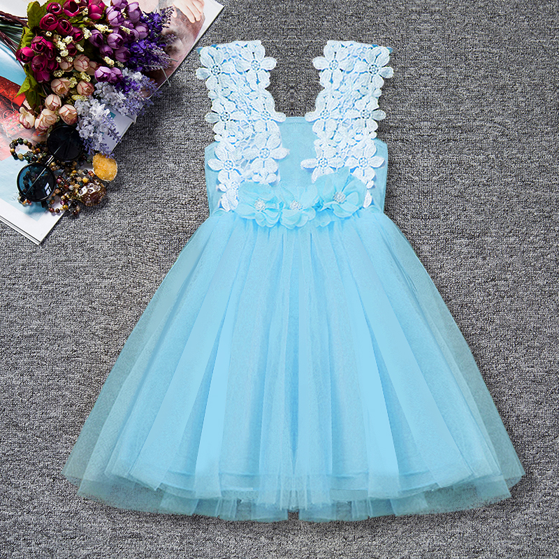 Infant Floral Clothes Sleeveless with Flowers Summer Girls Baby Clothing Tulle Party Princess Lace Dress Children Daily Clothes jioromy big girls dress 2017 summer fashion flower lace knee high ball gown sleeveless baby children clothes infant party dress